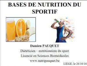 Conférence «Base de nutrition du sportif»