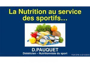 Conférence «La nutrition au service des sportifs»